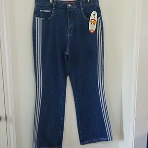 On Trend High Waist-ed Wide Leg Side Stripe Jeans